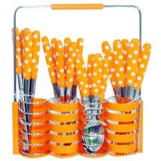Golden Cutlery Polkadot Set Peralatan Makan - 24 Buah - Oranye