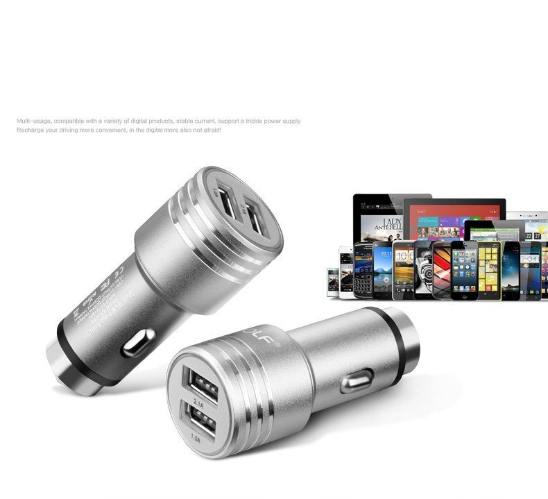 Golf Mini Dual Usb 1A / 2.1A Metal Mobile Phone Car Charger for Apple iPhone 7/7S 6/6s Plus SE/5S/5C iPad , Samsung Galaxy S6 S7 S8 Edge Note 6/5/4 , Huawei Mate S 8/7 P8 P9 Sony LG Xiaomi HTC (Intl)