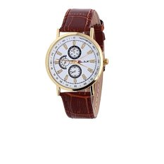 Gracefulvara Fashion Women Men's PU Leather Band Casual Fashion Quartz Wrist Watch (Coffee)