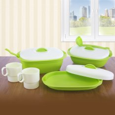 Green Leaf - Vienna Value Set Of 3 Wadah Saji Dengan Tutup, 2 Sendok Sayur + Bonus 2 Gelas - Hijau