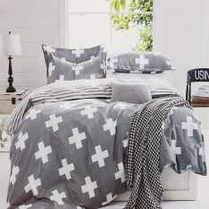 Grey Cross Single Double Queen King Size Bed Set Pillowcase Quilt Duvet Cover S Size - Intl