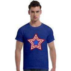 Grunge Patriotic Star Logo Cotton Soft Men Short T-Shirt (Blue) - Intl