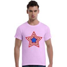 Grunge Patriotic Star Logo Cotton Soft Men Short T-Shirt (Pink) - Intl