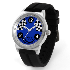 GT WATCH Brand Drift Collection Auto Racer Sport Black SiliconeStrap Stainless Steel Case Japan Analog Movement Wristwatch GT1400Blue - Intl