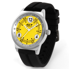 GT WATCH Brand Motor Collection Auto Racer Sport Black Silicone Strap Stainless Steel Case Japan Analog Movement Wristwatch GT3100 Yellow (Intl)