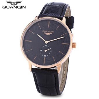 GUANQIN BJ001 Male Quartz Watch Working Sub-dial 10ATM Genuine Leather Strap Wristwatch (Gold)