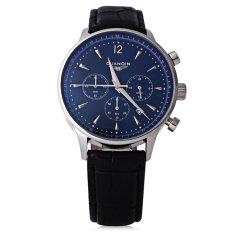 GUANQIN GQ001 Water Resistance Male Japan Luxury Quartz Watch Leather Watchband Working Sub-dials (BLUE) (Intl)
