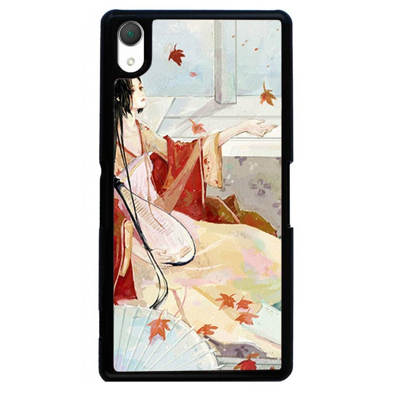 Hand Draw Beauty Printed Phone Case for SONY Xperia Z3 (Black)