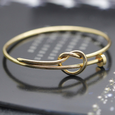 Handmade Copper Nail Twisted Adjustable Bangle (Gold)