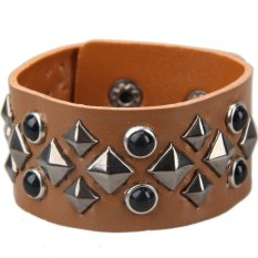 HAOFEI Charming Square Rivet Unisex Wide Bracelet Cuff Bangle Wristband Brown - INTL