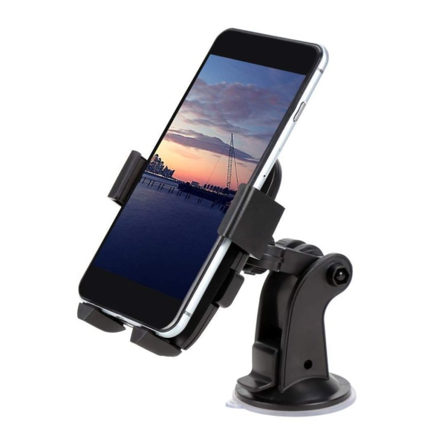 Happycat New Car Windshield Suction Cup Adjustable Rotating Stand Mount Holder For All Phone (Black ) (Approx. 11x7cm/4.29x2.73inch )