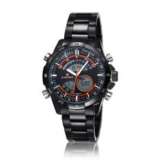 Hazyasm Brand Male Watch Men Strip Naviforce Fashion LED Dual Display Electronic Watches (Orange)