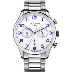 Hazyasm Genuine HOLUNS Watches Men Multi-functional Fashion Waterproof Steel Quartz Watch Classic Male Table Table (Blue)