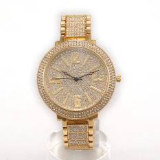 Hazyasm HEMNEZ Genuine Shock Diamond Ladies Watch Ladies Watches Popular Foreign Trade Steel Quartz Watch (Gold)