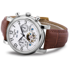 Hazyasm HOLUNS Watch For Men Automatic Mechanical Watches Fashion Hollow Belt Male Table Back Through Mechanical Watches Tourbillon (White)