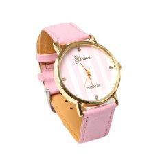 HDL Geneva Faux Leather Strap Quartz Wrist Watch Pink (Intl)