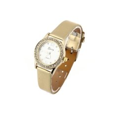 HDL Quartz Movement Wrist Watch Gold PU Leather Band Rhinestone Lady