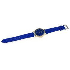 HDL Unisex Casual Geneva Checkers Faux Leather Quartz Analog WristWatch Blue