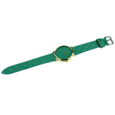 HDL Unisex Casual Geneva Checkers Faux Leather Quartz Analog WristWatch Green