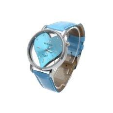 HDL Womens Quartz Watch Leather Strap Rhinestone Heart Hollow Hot Sky Blue (Intl)