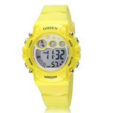 High Quality Multi-function Alarm Stop Watch Lady Girls Children Rubber Digital LED Waterproof Wrist Watch (Yellow) - Intl