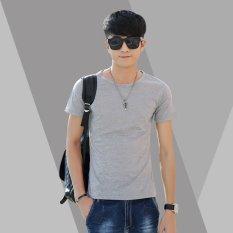 High Quality Tshirt O-Neck Tee Solid T Shirt Fashion Tops Casual Short Sleeve Men's T-shirt(Gray) (INTL)
