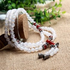 HKS Aotian Natural Red Agate Beads Crystal Bracelet Lucky Transport More Than 108 Men And Women Ring Crystal Jewelry Free Shipping - Red + White + Horn Section - Intl
