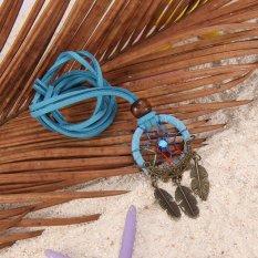 HKS Dreamcatcher Feather Charm Pendant Hand Tied Necklace Blue (Intl)