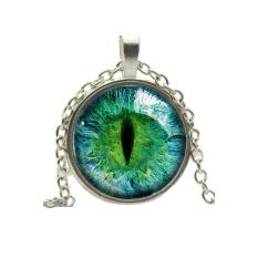 HKS Vintage Pendant Necklace Cat Eye Rhinestone Green + Silver (INTL)