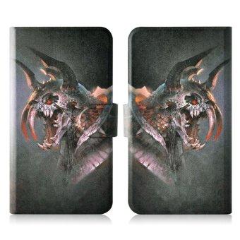 Horrific 3 Horns Tusks Monster PU Leather Flip Case Cover