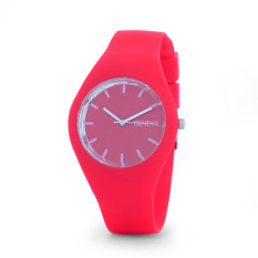 Hot Selling Jelly Silicone Geneva Watch Relogio Feminino Fashion Women Wristwatch Casual Luxury Watches (Red)