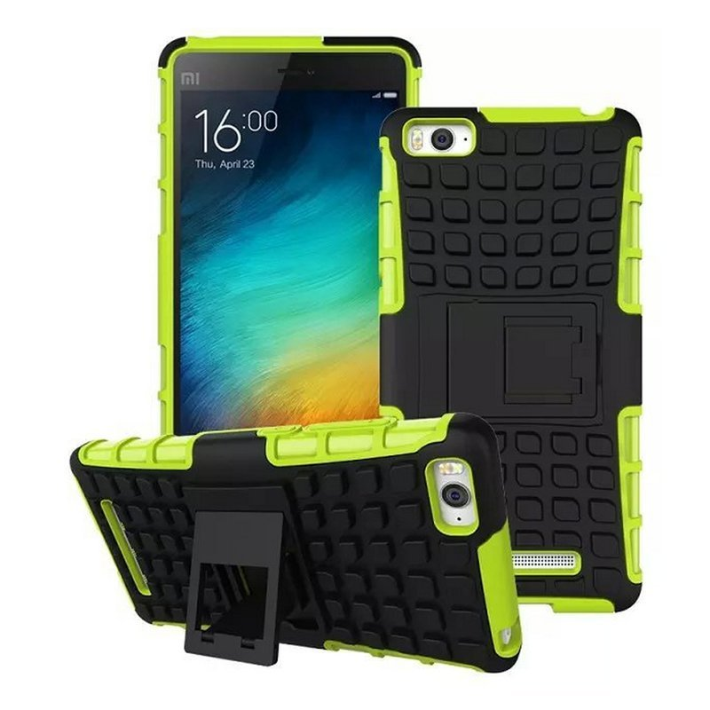 Hybrid TPU + PU Shell Stand Shockproof Cover for xiaomi mi4i (Green)