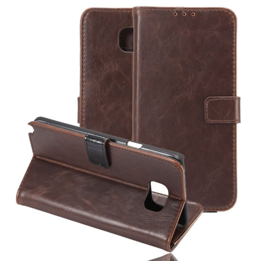 I3C Crazy Horse Pattern Ultrathin Flip Stand PU Leather Case Cover for Samsung Galaxy Note 5 Dark Brown