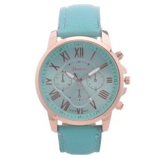 IBERL Geneva Fashion Women's Metal Case Faux Leather Band Leather Strap Watch Mint (Intl)