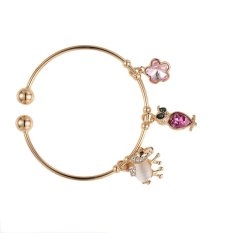 IJIUJIU Fashion Gold Plated Jewelry Bangle Bracelet Flower Animal Pendant Lucky Love Gift Homemade Products Size: 22.5 Cm, Color: Gold (Intl)