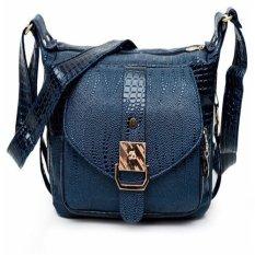Ilife Women Messenger Bags Leather Handbag Mid-age Models Shoulder Bag Crossbody Mom Handbags High Quality Bag Blue- Intl