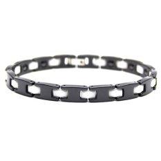 Istana Accessories Gelang David Black White Stripe Stainless Steel Ceramic Magnetic Bracelet - Gelang Kesehatan