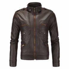 Jaket Pria - Leather Jacket Trend Bikers - Coklat