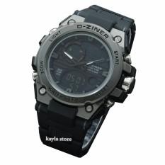 Jam Tangan Sport Pria - Dziner Dual Time - Black WR- Rubber Strap - DeZi 8i139 BWnR
