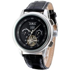 JARAGAR Brand Men's Tourbillon Automatic Mechanical Calendar Leather Strap Mens Watch Black