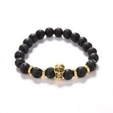 Jetting Buy Lava Rock Bracelet Natural Stone Golden Skull Men's Beaded Bracelet 8mm Bead- Intl