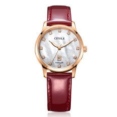 Jiage Bontek Electronic CITOLE Ladies Watch Leather Diamond Authentic Korean Simple Calendar Temperament Leather Waterproof Quartz Table Fashion Brand Table 5151 Red