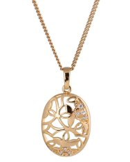 JIANGYUYAN 18K Yellow Gold Plated White Rhinestone Lovely Shell Pendant Necklace For Women (Intl)