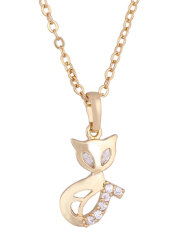JIANGYUYAN 18K Yellow Gold Plated White Rhinestone Pretty Fox Pendant Necklace For Women (Intl)