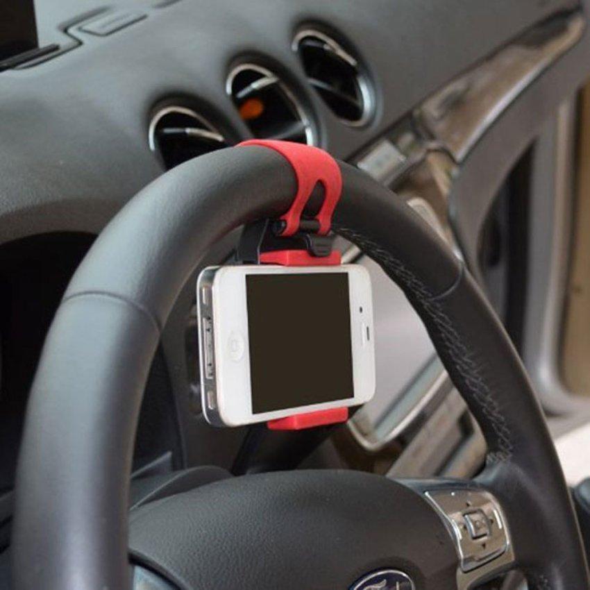 JIANGYUYAN Multi-functional Hands Free Mobile Phone Holder Buckle Socket on Car Steering Wheel, Black and Red (Intl)
