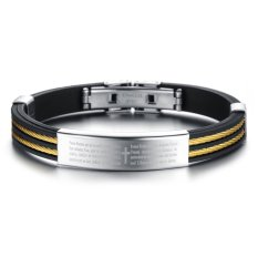 Jiayiqi Bible Cross Gold Chain Titanium Silicone Men Bangle Bracelet- Intl - Intl