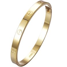 Jiayiqi Women Titanium Bangle Golden Charm Bracelet - Intl