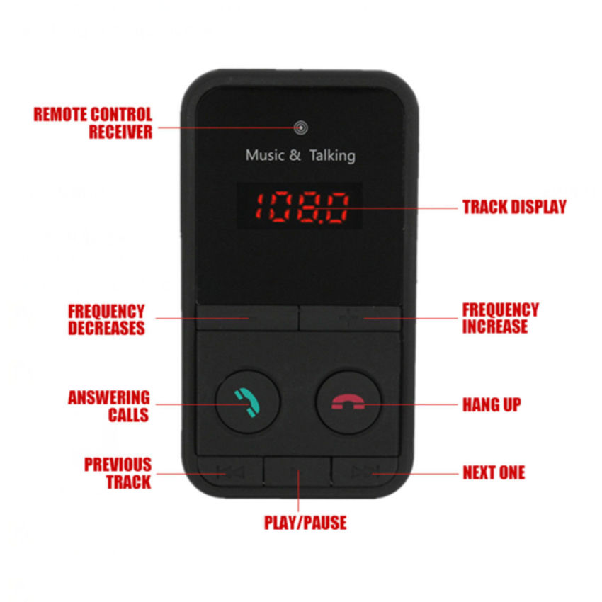JinGle Wireless Bluetooth FM Transmitter Modulator Car Kit MP3 Player SD USB LCD Remote (Black) (Intl)
