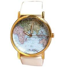 Jo.In World Map Globe Fashion Leather Alloy Womens Analog Quartz Watches Free Ship (White)