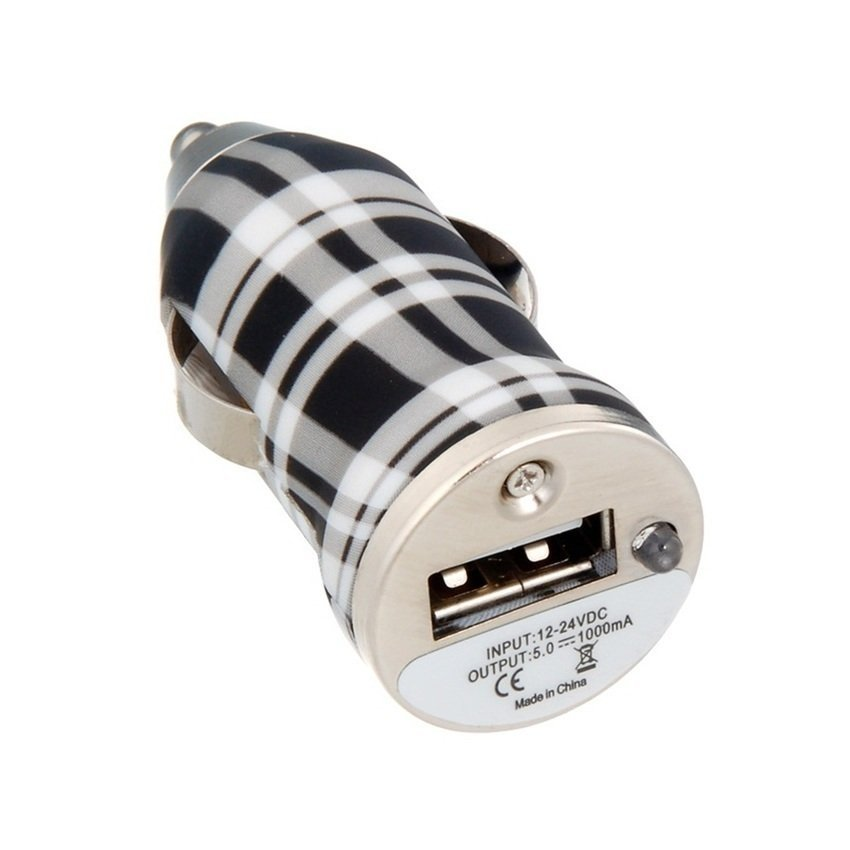 JOR 12V Voltage to USB 2.0 Plaid Car Charger (Black/White) (Intl)